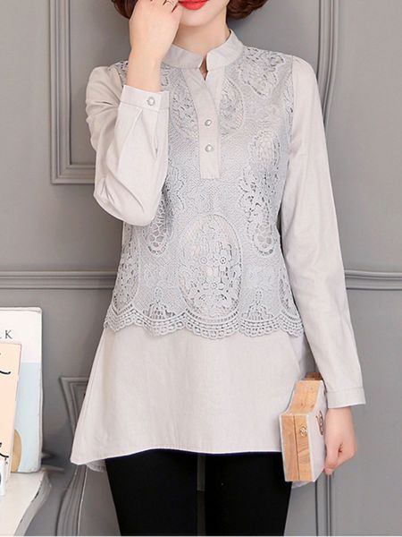 Buy High-Low Band Collar Decorative Lace Plain Blouse online with cheap prices and discover fashion Blouses at Fashionmia.com.