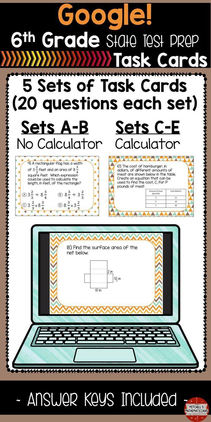 6th Grade Math Test Prep Task Cards Using Google Secondary Math