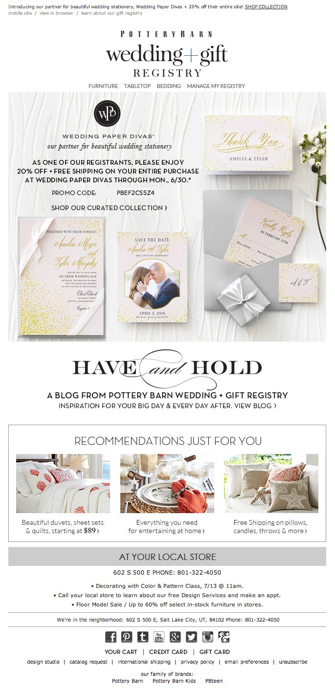 255 best email autoregistrywish list images on pinterest pottery barn wedding registry email 2014 junglespirit Image collections