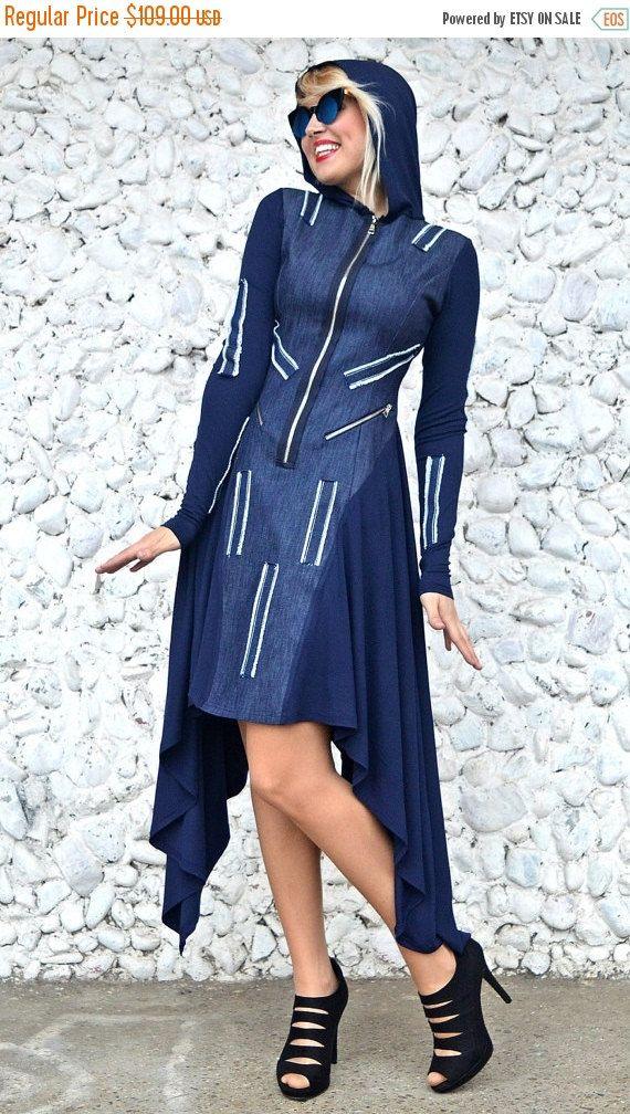 ON SALE 20% OFF Extravagant Denim Dress / Denim Hooded Dress / Asymmetrical Denim Dress Tdk228 / Urban Muse