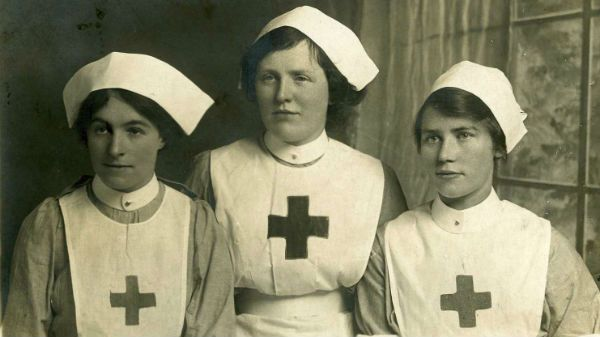 Three Red Cross nurses from the First World War