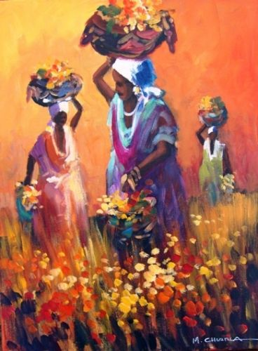South African Art | Home / African Art / Mauro Chiarla / Africa Ladies with Flowers