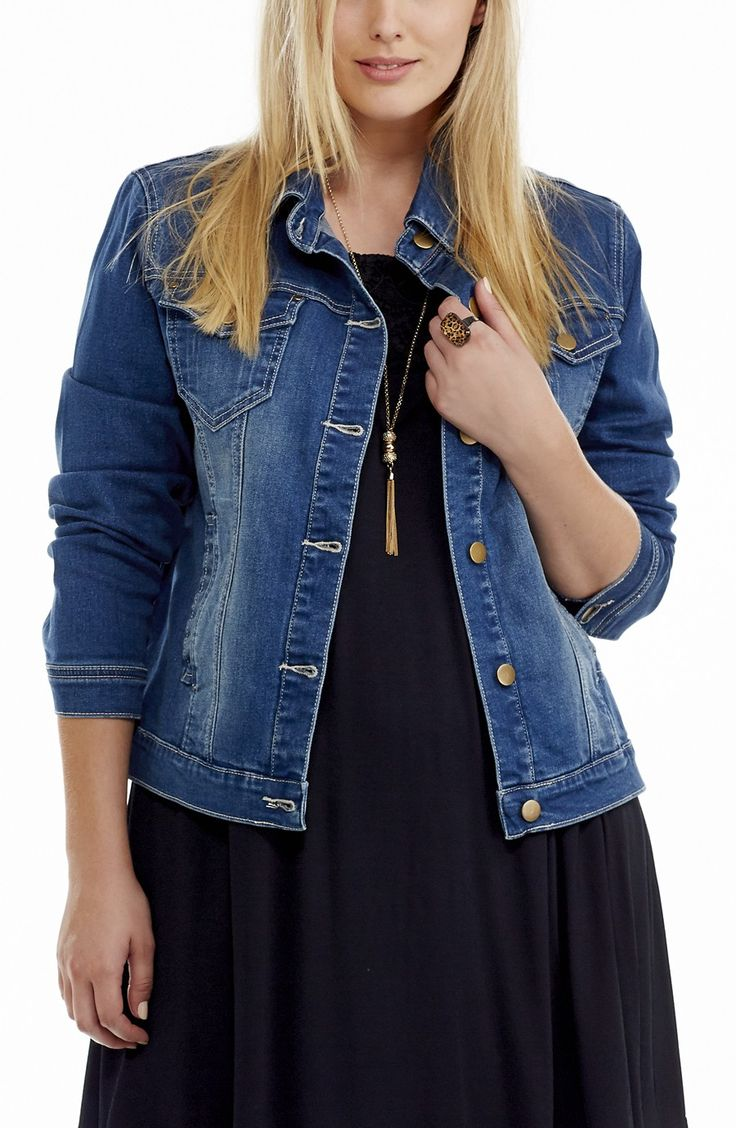 Stretch Denim Jacket | Indigo Style No: JK11134 Stretch denim classic Jacket. This jack has two Chest pockets with button down stud buttons and two side welt pockets. It has contrast stitching and stud button fastenings. #plussize #fashion #dreamdiva #dreamdivafiles