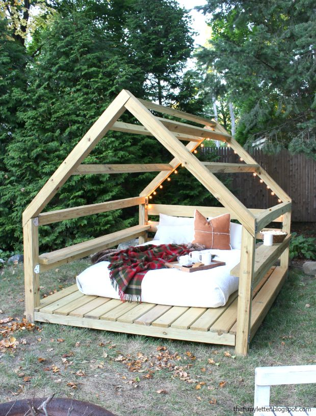 diy outdoor cabana lounge fort