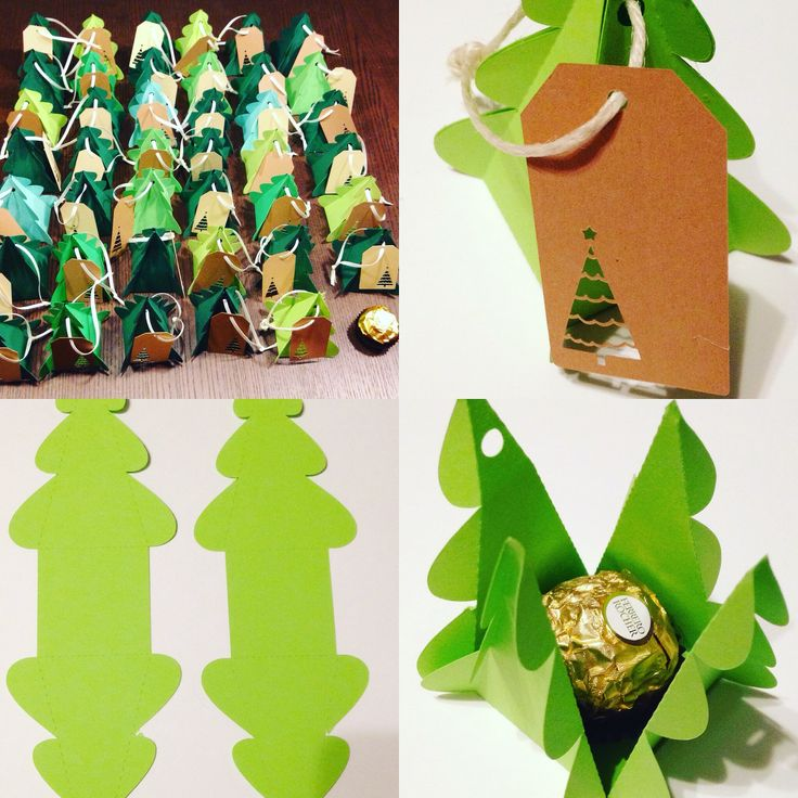 Diy christmas presents for friends and neighbours #plottern #paperchristmastrees #ferrerorocher