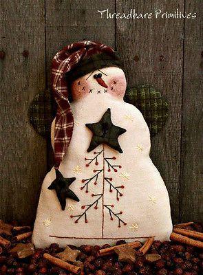 Pattern Primitive Christmas Feather Tree Snowman Stitchery Doll Uncut New | eBay