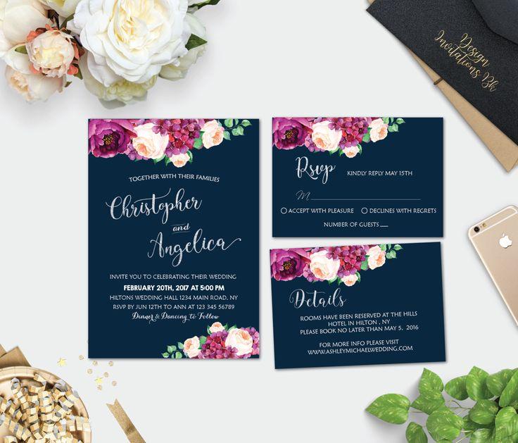 Wedding Invitation Printable Template Set Silver Suite