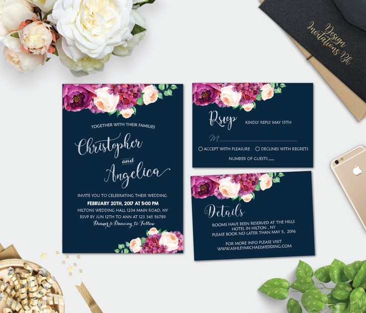 Wedding invitation printable, Wedding invitation template, Wedding invitation set, Silver Wedding Invitation Suite, Watercolor Boho Flowers by designinvitationsbk on Etsy