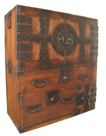 Antique Japanese 2-section kannon biraki tansu (tansu chest for clothing with hinged doors), kiri (paulownia) wood front and sides with sugi (cryptomeria) wood top, top section has opening doors with 5 hinges on each panel, opening to 2 large drawers. The bottom section has 2 large drawers and a safe box in lower right hand corner, inside the safe box are two small drawers. Late Edo/ Early Meiji Period (circa 1860).  Yes, this one too!