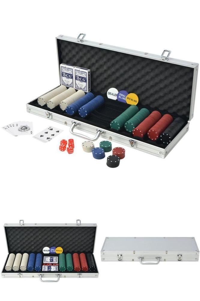 Card Game Chip Set 500 Chips Poker Cards Dice Dealer Button Metal Storage Case