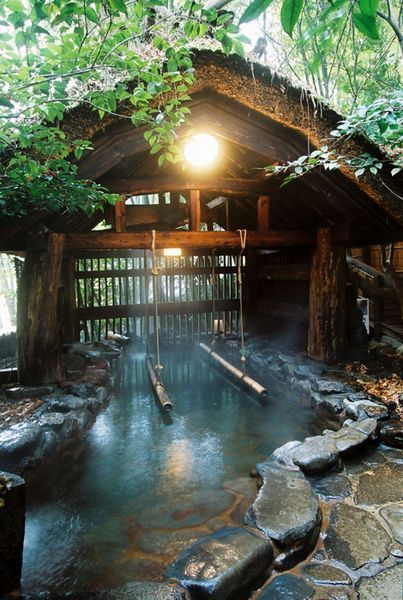 Kurokawa Onsen, Kumamoto, Japan (The bamboo bars help to stand and soak in the bath which is deeper than others.)