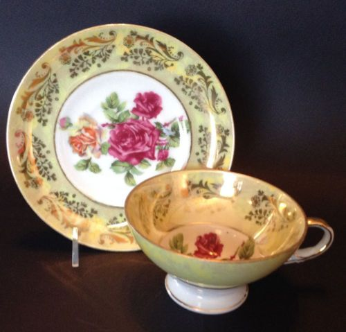 Pedestal-Tea-Cup-And-Saucer-Hand-Painted-Roses-With-Gilding-Royal-Sealy-Japan