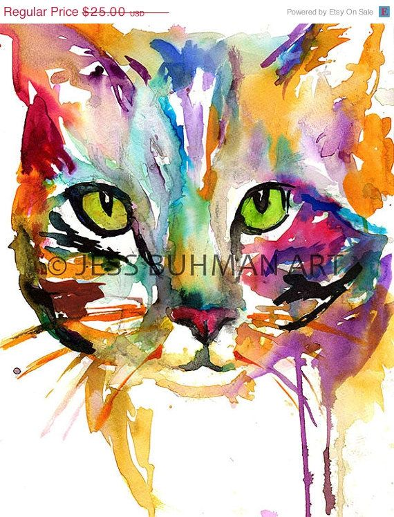 ON SALE Print of Watercolor Painting Tabby Cat by ArtbyJessBuhman, $20.00