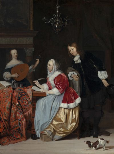A Young Woman Composing a Piece of Music | 1664 | Mauritshuis | Public Domain Marked
