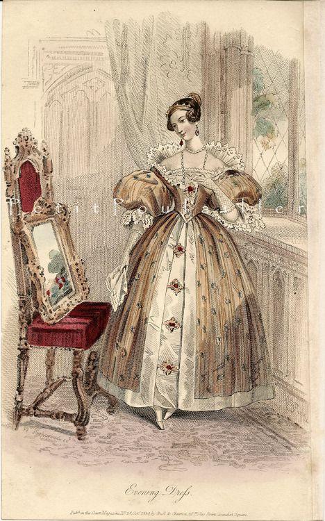 October evening dress, 1834 England, Court Magazine