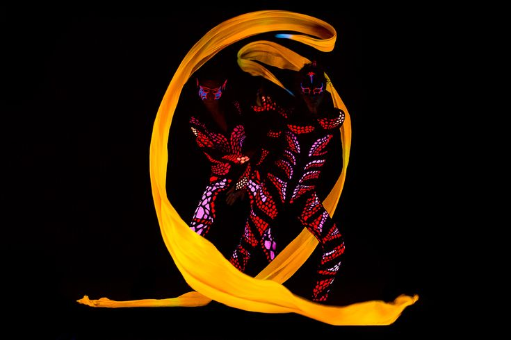 Yellow ribbons in black light - Anta Agni dancers UV LIGHT Show http://antaagni.com/uv-light-show/