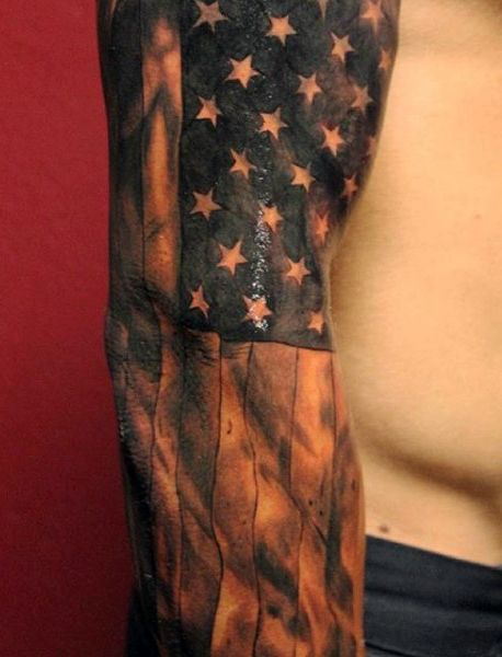 Black And White American Flag Tattoos For Males Sleeves