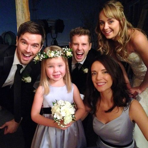 Heartland: Amy and Ty's wedding aka the moment I have been waiting for. Ty, Katie (Julia Baker), Caleb,Lou, and Amy.