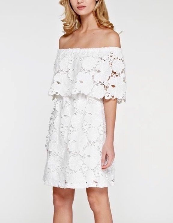 SOUTHERN GIRL FASHION Floral Mini Dress White Off the Shoulder Lace Embroidered #Boutique #Casual