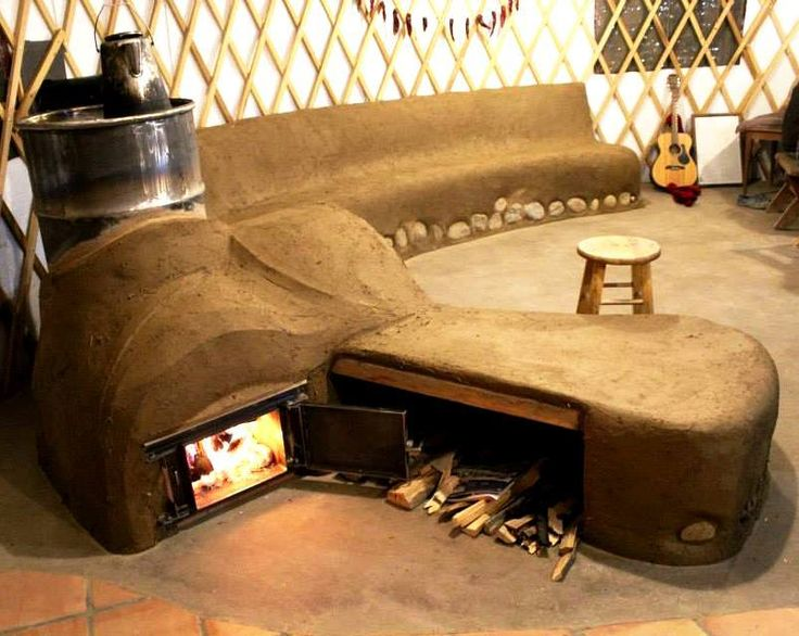 This is an Earthen Building w Rocket Mass Heater its integral heated bench & could go through floor. Tempts as high as 3500 degrees; exit 100 degrees w no smoke.   DIY & No Mortgage.