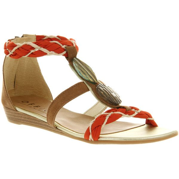 Office Cairo sandal orange fabric ($13) ❤ liked on Polyvore featuring shoes, sandals, sandales, office shoes, synthetic shoes, beaded shoes, orange sandals and office sandals