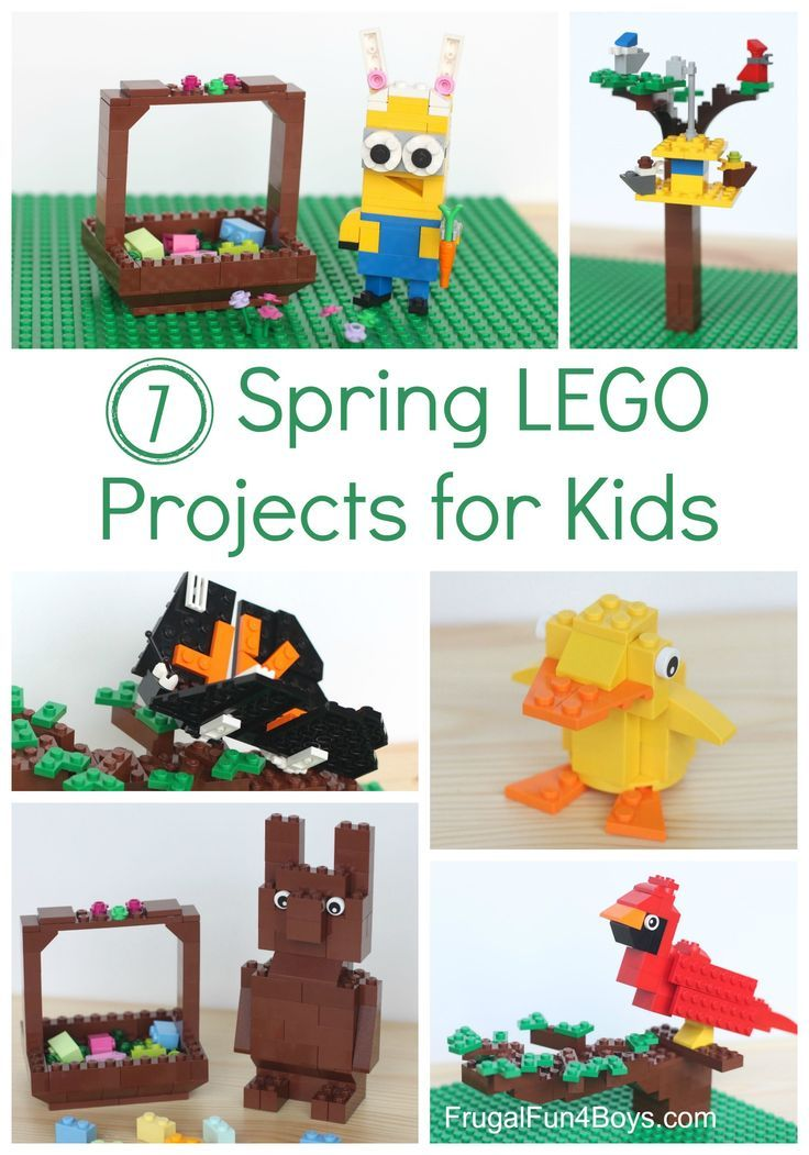 Seven Spring Lego Ideas!  Projects to Build with Instructions.  Duck, chocolate bunny, birds, love the bunny minion!