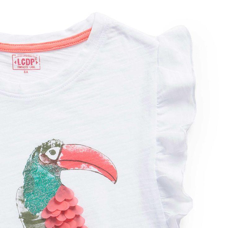 """T shirt jersey flammé manches volantées """"Paradis tropical"""""""