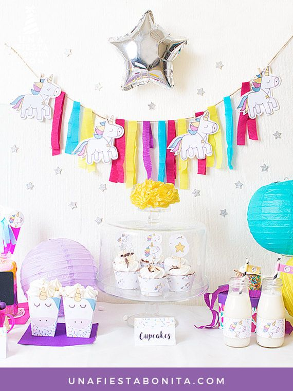 Party Pack printable unicorns by Unafiestabonita on Etsy