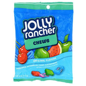 Munch on long-lasting Jolly Rancher® Chews and enjoy the same fruit flavors as their hard candy cousins. 4-oz. bag of Jolly Ranchers Chews.
