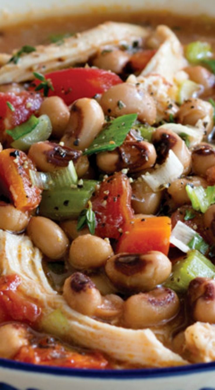 Chicken and Black-Eyed Pea Stew ~ The perfect hearty dinner