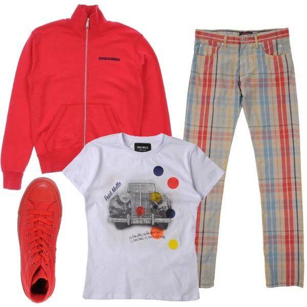 Look divertente, per ragazzi della scuola media: T-shirt a stampa colorata, pantaloni di tela a fantasia scozzese, felpa a tinta unita, con zip e collo alto, e sneakers alte di stoffa e gomma, monocolore.