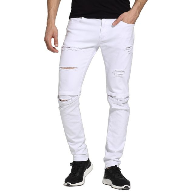 We love it and we know you also love it as well Men White Jeans Fashion Design Slim Fit Casual Skinny Ripped Jeans For Men H1704 just only $18.80 with free shipping worldwide  #jeansformen Plese click on picture to see our special price for you