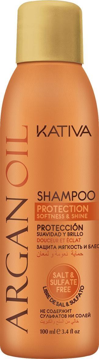 Champú con Aceite de Argán BIO, certificado por Ecocert, da protección, fuerza, elasticidad y un brillo espectacular al pelo dañado. Kativa Natural.