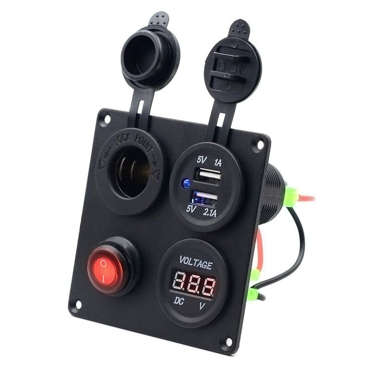 Qunqi Dual USB Charger + Digital Voltmeter + 12V Power Socket Outlet + ON-OFF Button Switch 4 Hole Panel for Car Boat Marine Truck Motorcycle RV ATV Vehicles GPS Mobile Phone