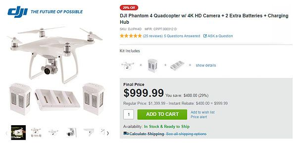 http://adorama.evyy.net/c/63684/51926/1036?u=http://www.adorama.com/djiph4d.html  Save 33% on this DJI Phantom 4 Quadcopter Bundle in this Black Friday Deal...