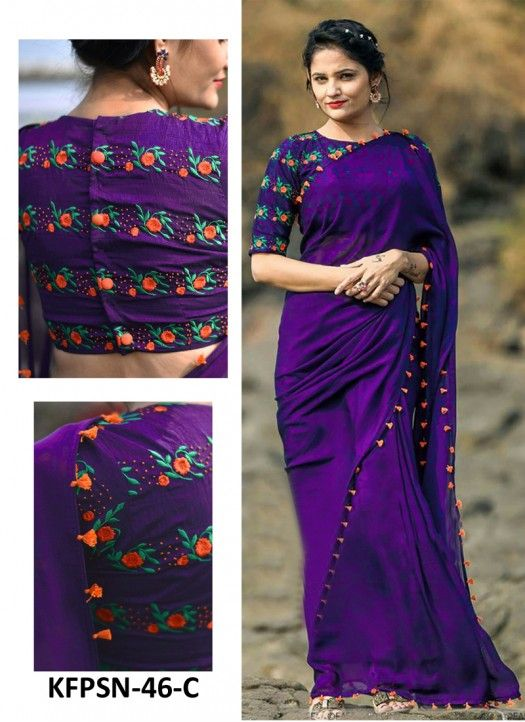 Buy Georgette Purple Replica Saree