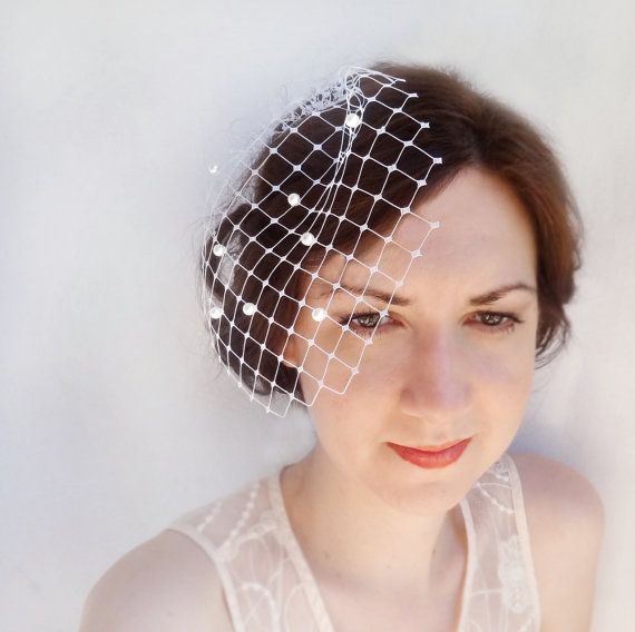 Wedge Birdcage Veil Ivory Wedding Bridal With Pearls