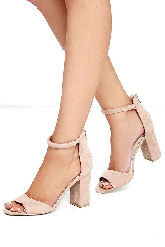 """The Sidecar Cutie Taupe Suede Ankle Strap Heels are our kind of shoes! Vegan suede heels include a comfy toe band and padded ankle strap. 3"""" heel zipper."""