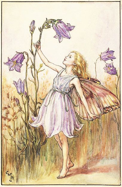 Cicely Mary Barker (1895-1973), Illustration of the Harebell Fairy for Flower Fairies of the Summer, 1925. Description from vam.ac.uk. I searched for this on bing.com/images