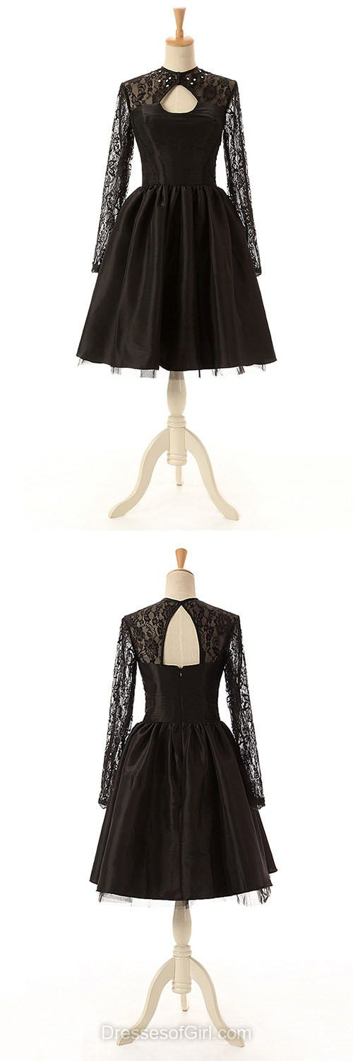 Long Sleeve Prom Dresses, Black Homecoming Dresses, Short Cocktail Dress, Lace Evening Gowns, Cheap Party Dresses