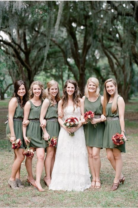 Olive Green Wedding Dresses And Neutral Shoes On St Simons Island