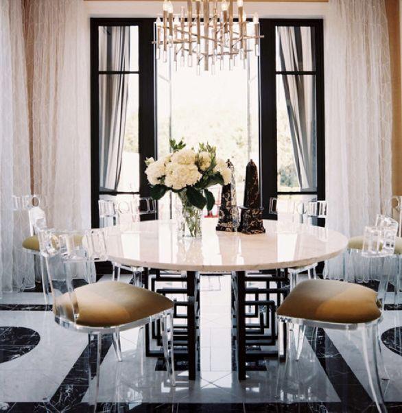 klismos style lucite chairs, black windows, black and white floors.  sophisticated | jamie herzlinger