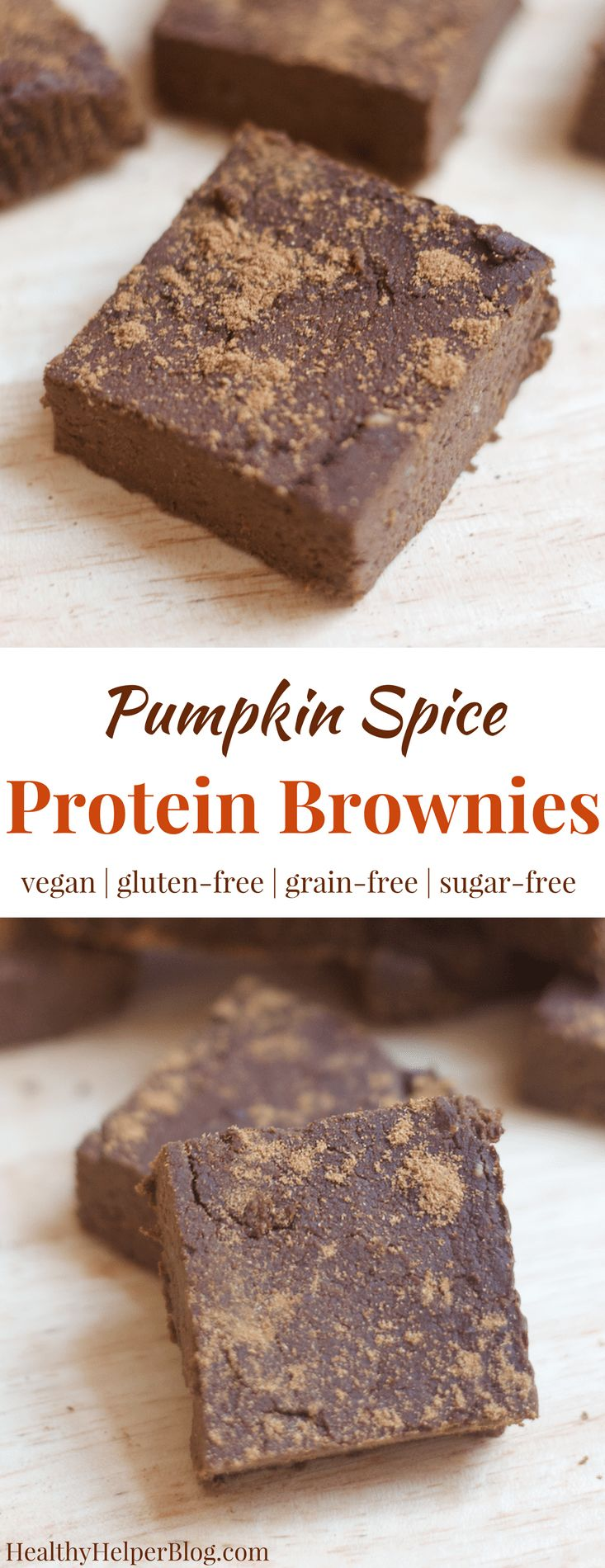 Pumpkin Spice Protein Brownies   Healthy Helper @Healthy_Helper Your favorite chocolate treat made HEALTHY and seasonal! These protein brownies are infused with the best flavor of fall...pumpkin spice! They're vegan, gluten-free, grain-free, and high in plant based protein, too!