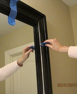 Mirror frame tutorial : How to make custom looking frame for around contractor mirror in bathroom.  So freaking smart!Bathroom Mirrors, Guest Bathroom, Mirrors In Bathroom, Frames Tutorials, Contractor Mirrors, Diy Mirror, Mirrors Frames, Frames Mirrors, Master Bathroom