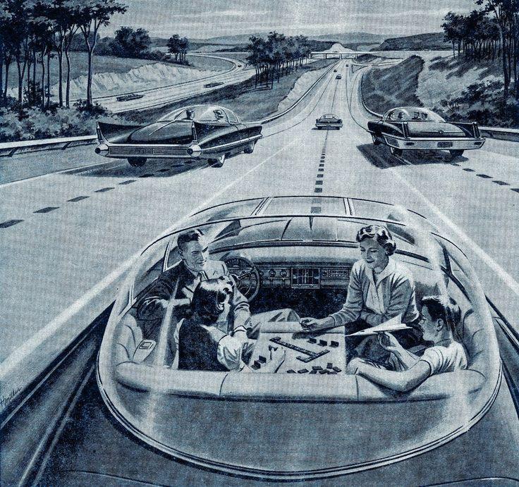 Een familie speelt domino in een zelfrijdende auto. Illustratie uit 1957.