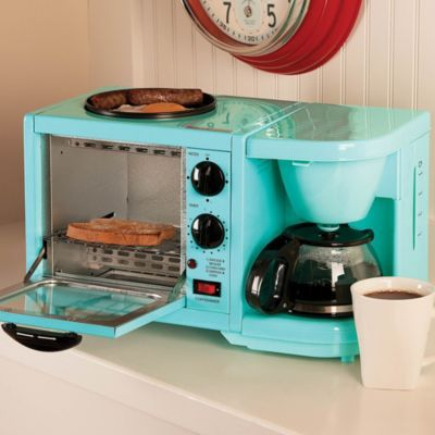 With the 3-in-1 Breakfast Center, you can toast a bagel, fry an egg, and brew a cup of coffee all at once!