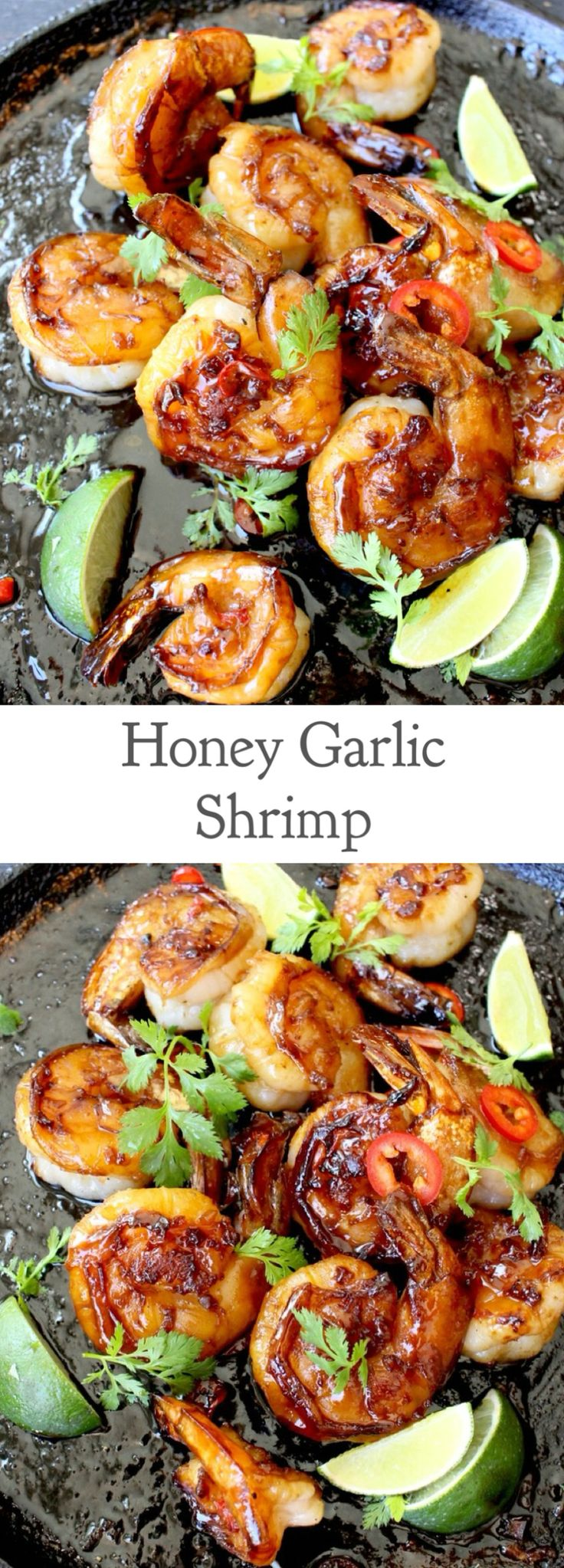 Honey Garlic Shrimp Recipe- Easy and delicious garlic honey crusted shrimp. | CiaoFlorentina.com @CiaoFlorentina use GF soy sauce