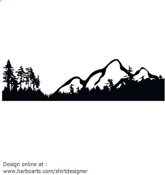 Silhouette vector of mountains and forest with many pinetrees. For a few dollars you can download this vector mountain clipart and enjoy royalty-free commercial usage rights. Download link will be available on payment - (see license and usage rights)