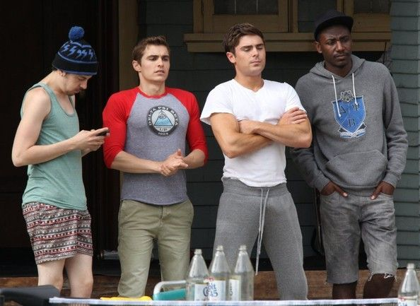 Stars on the set of Townies in Los Angeles, California on May 8, 2013 / Pictured: Zac Efron, Dave Franco, Christopher Mintz-Plasse