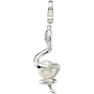 Freshwater Cultured Pearl & Diamond Snake Charm...add this exquisite Charm to your bracelet!